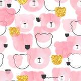 Modello rosa senza cuciture con gli orsi astratti dell'acquerello royalty illustrazione gratis