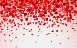 Modello rosso dei coriandoli di caduta casuali dei cuori Elemento di progettazione del confine per l'insegna festiva, cartolina d illustrazione vettoriale