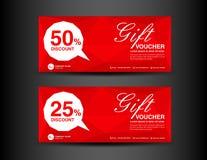 Modello rosso del buono di sconto, progettazione del buono, biglietto, insegna, carta Immagini Stock Libere da Diritti