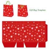 Modello rosso della borsa del regalo con i fiocchi di neve Immagini Stock