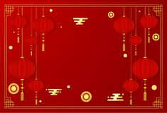 Modello rosso della cartolina d'auguri del nuovo anno cinese con gli elementi asiatici tradizionali dell'oro e della decorazione  illustrazione vettoriale