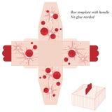 Modello rosso della scatola con la maniglia, con le bande e la frutta Immagini Stock