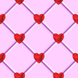 Modello rosso delle mattonelle di rosa del cuore dei biglietti di S. Valentino Fotografie Stock
