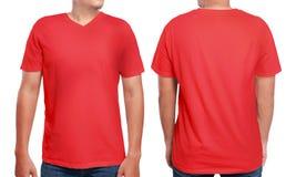 Modello rosso di progettazione della camicia del collo a V Fotografia Stock Libera da Diritti
