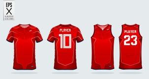 Modello rosso e bianco di progettazione di sport della maglietta della banda per il jersey di calcio, il corredo di calcio e la c illustrazione di stock