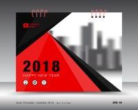 Modello rosso 2018, idea del calendario della copertura della stampa illustrazione vettoriale