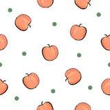 Modello rosso senza cuciture della mela su fondo bianco Immagine Stock Libera da Diritti