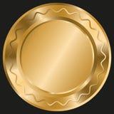 Modello rotondo brillante con le linee ondulate dell'oro su fondo nero royalty illustrazione gratis