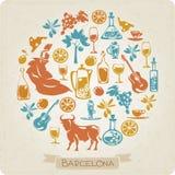 Modello rotondo con i simboli degli elementi di Barcellona Fotografia Stock Libera da Diritti