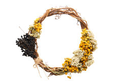 Modello rotondo della corona della struttura dei fiori asciutti su fondo bianco, isolato Fotografie Stock