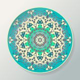 Modello rotondo della mandala Piatto ceramico decorativo di vettore con l'ornamento nello stile etnico illustrazione di stock