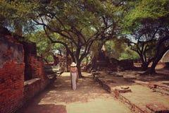 Modello in rovine del tempio Fotografie Stock