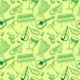 Modello rseamless di vettore di scarabocchio degli strumenti musicali Backgr di musica Immagini Stock