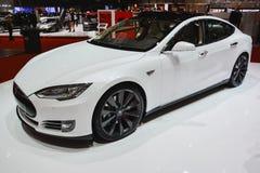 Modello S di Tesla al salone dell'automobile di Ginevra Fotografia Stock