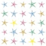 Modello schizzato disegnato a mano variopinto della decorazione delle stelle marine Disegno divertente Fotografia Stock Libera da Diritti