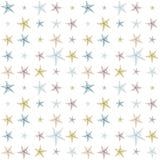 Modello schizzato variopinto disegnato a mano della decorazione delle stelle marine Fotografia Stock Libera da Diritti