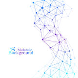 Modello scientifico di chimica Ricerca del DNA della molecola della struttura come concetto Fondo di scienza e tecnologia royalty illustrazione gratis