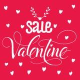 Modello scritto a mano di vendita del biglietto di S. Valentino Fotografie Stock