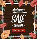 Modello scuro di autunno di vettore di vendita dell'insegna disegnata a mano piana della struttura illustrazione di stock