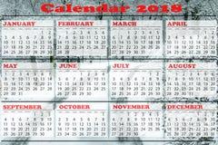 Modello semplice del calendario per 2018 Fotografia Stock