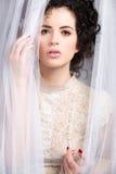 Modello sensuale del brunette in camicetta del merletto Fotografie Stock