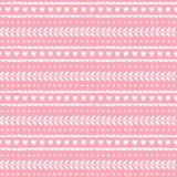 Modello senza cuciture adorabile sveglio per progettazione di nozze o del biglietto di S. Valentino Cuori e foglie su fondo rosa  Fotografia Stock