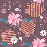 Modello senza cuciture allegro con i fiori della margherita e dell'universo, righelli musicali che passano attraverso il cuore, n royalty illustrazione gratis