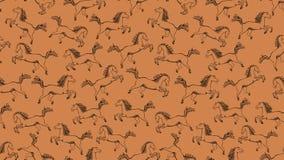 Modello senza cuciture arancio con i cavalli Illustrazione Vettoriale