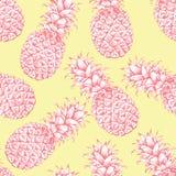 Modello senza cuciture astratto, carta da parati, fondo, ananas disegnato a mano bianco giallo rosa del contesto Schizzo di vetto Fotografie Stock Libere da Diritti