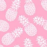 Modello senza cuciture astratto, carta da parati, fondo, contesto Rosa con l'ananas disegnato a mano bianco Schizzo di vettore Immagine Stock