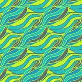 Modello senza cuciture astratto con l'onda di scarabocchio con colore al neon Illustrazione di vettore Immagine Stock