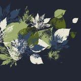 Modello senza cuciture astratto con le foglie illustrazione di stock