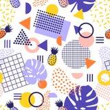 Modello senza cuciture astratto con le linee, le forme geometriche, i frutti tropicali dell'ananas e le foglie esotiche su fondo  illustrazione di stock
