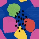 Modello senza cuciture astratto contemporaneo del collage sul blu illustrazione vettoriale