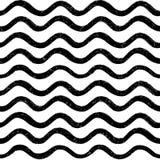 Modello senza cuciture astratto dell'onda di oceano Linea ondulata fondo della banda Fotografia Stock