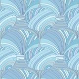 Modello senza cuciture astratto delle linee e dei cerchi, nel colore blu pastello illustrazione di stock