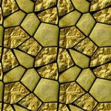 Modello senza cuciture astratto delle pietre granulose dell'oro e dei cristalli d'ardore Immagini Stock