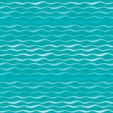 Modello senza cuciture astratto di vettore di onde Linee ondulate di fondo disegnato a mano del blu di oceano o del mare Fotografia Stock