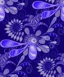 Modello, senza cuciture, astratto, floreale nei toni blu Per tessuto, carta da parati Immagini Stock Libere da Diritti
