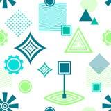 Modello senza cuciture astratto nel verde blu postmoderno di Memphis Style su bianco Fotografia Stock