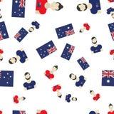 Modello senza cuciture australiano con la bandiera e la gente Illustrazione piana ENV 10 Fotografia Stock Libera da Diritti