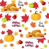 Modello senza cuciture Autumn Traditional Holiday Greeting Card di giorno felice di ringraziamento con la Turchia arrostita Immagini Stock Libere da Diritti