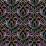 Modello senza cuciture barrocco floreale del ricamo Vettore decorato più tapest illustrazione di stock