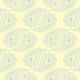 Modello senza cuciture beige floreale Fondo beige con le progettazioni blu-chiaro e verdi del fiore Immagini Stock