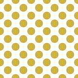Modello senza cuciture bianco con i grandi pois dell'oro Fotografie Stock Libere da Diritti