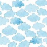 Modello senza cuciture bianco del blu dell'acquerello della nuvola e illustrazione di stock