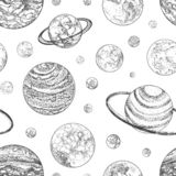 Modello senza cuciture in bianco e nero con i pianeti ed altri corpi planetari nello spazio cosmico Contesto con gli oggetti cele illustrazione di stock