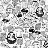 Modello senza cuciture in bianco e nero con i regali della foresta di autunno royalty illustrazione gratis