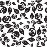 Modello senza cuciture in bianco e nero con le rose e le foglie illustrazione di stock