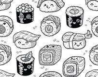 Modello senza cuciture in bianco e nero del sashimi e dei sushi nello stile di kawaii Fotografia Stock Libera da Diritti